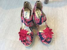 Ruby Shoo navy blue, pink strappy wedge heel shoes size 5/38