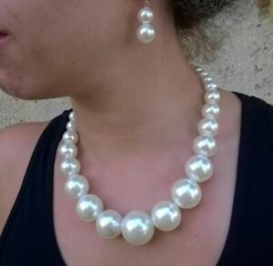 Extra Large Faux Pearl Bead Graduated Necklace and Earring set.
