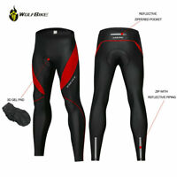 Mens Cycling Pants Tights Bicycle Bike Gel Padded Reflective Legging Trousers