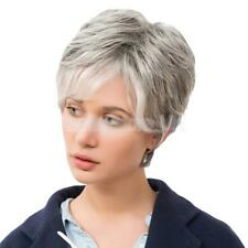 Women Party Short 100 % Real Human Hair Wigs with Cap Heat Resistant Gray