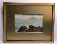 Antique Watercolour Mountains Rock Scene Framed By Harris & Sons 1915 Devon Corn