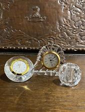 More details for joblot of vintage crystal clocks and candle / taper holder - cathedral crystal