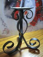 """Black WROUGHT IRON CANDLE HOLDER Scroll Design Holds Pillars up to 3.5""""      501"""