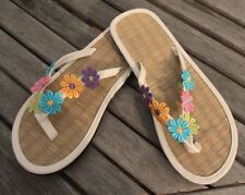 Ladies Flip Flops Straw Hand Decorated with embroidered daisies