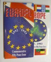 1992-1993 EC Presidency Rare 2-Coin BUnc Large Size 50p Royal Mint Pack