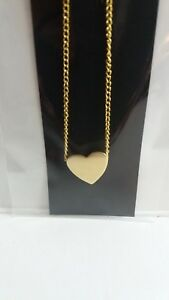 """GOLD TONE HEART PENDANT NECKLACE ON 18""""GOLD TONE CHAIN  NEW"""