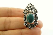 Ornate Turquoise 925 Sterling Silver Ring Size 7.5 8 9 10