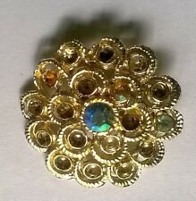 Vintage 1970s Gold/Silver Tone Circles Womens Brooch, with Pin, Needs Repair
