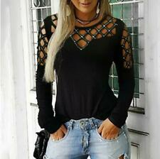 Womens Lace Long Sleeve T Shirt Blouse Ladies Casual Loose Tops Tee Plus Size