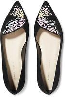 NIB Sophia Webster Black Talulah Patent Leather-trimmed Suede Ballet Flats it37