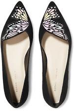 NIB Sophia Webster Black Talulah Patent Leather-trimmed Suede Ballet Flats 37.5