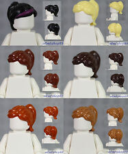 LEGO - 6x Female Hair Lot - Ponytail Black Reddish Brown Tan Blonde Girl Wig
