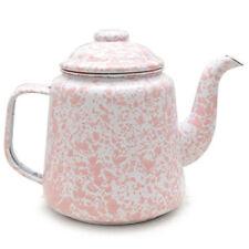 Crow Canyon Enamelware 900ml Enamel Teapot in Pink Marble D108PKM