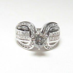 14K White Gold WEIGHED 1.18 Ct Salt, Pepper Brilliant Cut Diamond Ring 2.78 TW