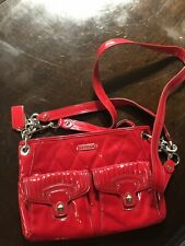 18678 Coach Authentic Poppy Red Quilted Patent Leather purse shoulder bag