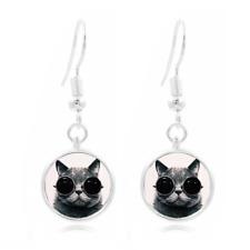 Steampunk Cat Photo Art Glass Cabochon 16mm Charm Earring Earring Hooks