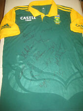 SOUTH AFRICA TEAM SIGNED WORLD CUP CRICKET SHIRT UNFRAMED + PHOTO PROOF C.O.A