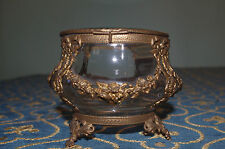 Rare 1890 antique hand cut jewelry round box bronze guarland flowers ribbons