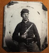 Civil War Union Uniformed Soldier with Colt 1860 Revolver RP tintype C1171RP