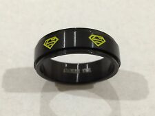 316L STAINLESS STEEL SUPERMAN SPINNER RING BLACK & YELLOW NEW SZ 14 USA SHIPPED