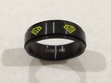 316L STAINLESS STEEL SUPERMAN SPINNER RING BLACK & YELLOW NEW SZ 15 USA SHIPPED