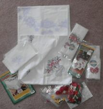 CHRISTMAS BAUBLES LOT Almost Finished! Bucilla TABLECLOTH TABLE RUNNER NAPKINS