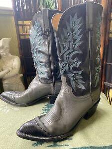 9.5 D Men's Lucchese 1883 Teal Black Lizard Toe Gray Cowboy Boots Rare Blue