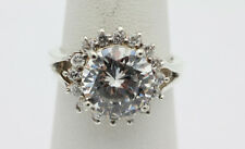 Sterling Silver .925 Sparkling Cubic Zirconia Flower Fashion Ring Size 7   H200