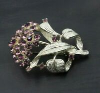 Vintage FLORAL Bouquet Flower Brooch Pin Purple Rhinestone Silver Toned C44