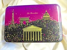 VINTAGE FAUCHON, PARIS CHOCOLATE HINGED TIN CASE, IN PINK BLACK AND GOLD