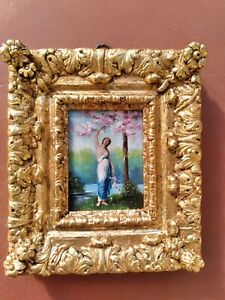 ANTIQUE OIL PAINTING ART NOUVEAU SEMI-NUDE WOMAN SIGNED FRAMED