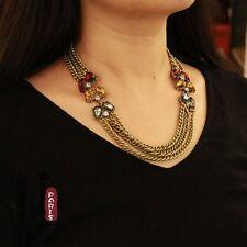 Necklace Three Row Chain Drop Grey Pink Amber Modern Original Evening AZ 1
