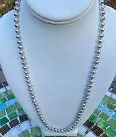 Vintage Monet Faux Silver Pearl Knotted Necklace