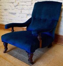 Antique Howard Style Armchair in Utopia Blue Velvet Fabric