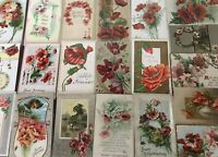 Colorful Lot of 25 POPPIES VINTAGE POPPY FLOWERS floral GREETINGS POSTCARDS-b643
