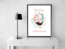 INSPIRATIONAL MOTIVATIONAL LITTLE MERMAID POSTER PRINT NURSERY CHILDS ROOM A4