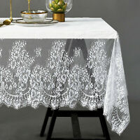 Lace White Black Embroidered Tablecloths Rectangle Table Cloth Cover Wedding