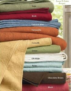 "100% COTTON MATELASSE King 108""x92"" QUILT : QUILTED TILE STITCH COVERLET"