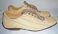 """Stefano Branchini """"Trofeo"""" Cream Plaited Leather Shoes/Sneakers,Hand Made,UK 8.5"""