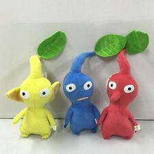"NEW set of 3 PIKMIN  8"" Red/Blue/Yellow LEAF STUFFED PLUSH Stuffed Animal"