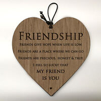 Wooden Hanging Heart Friendship Gift Best Friends - I'm Lucky My Friend Is You