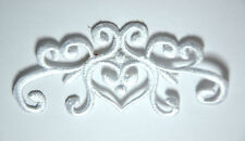 WHITE BAROQUE HEART TRIMMING Embroidered Sew Iron On Cloth Patch Badge APPLIQUE