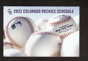 Colorado Rockies--2021 Pocket Schedule--Coke