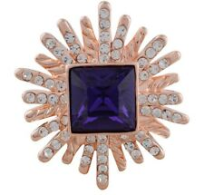 Rose Gold Purple Rhinestone Burst 20mm Snap Charm Jewelry For Ginger Snaps