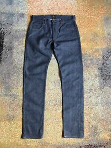 Lee 101 Rider Dry Selvage Denim Blue 30W 33L Slim Fit Made In Italy New