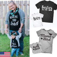 US Mom and Baby Girl Boy Clothes Family Matching Outfit Parent-child Top Clothes