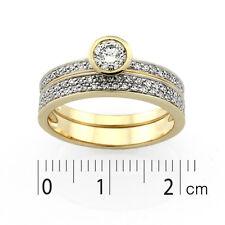 9ct Yellow Gold & Rhodium plated Diamond Set Ring