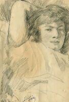 Dessin Ancien Original signé - Portrait, Personnage, Femme, Allongé