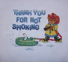 """Finished Completed Cross Stitch - """"Thank You For Not Smoking"""" - UNFRAMED"""