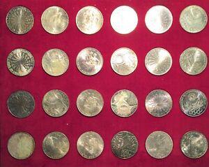 1972 Munich Germany Olympics 24 Coin Commemorative 10 Mark Silver Set w/Box !